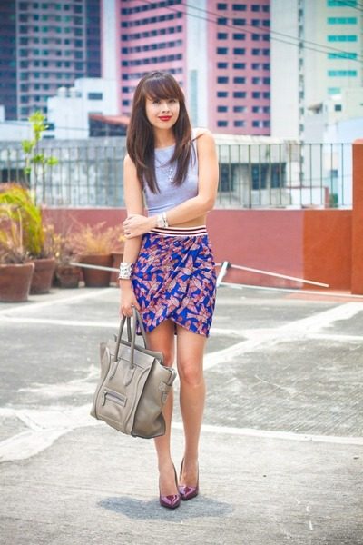 maroon Zara skirt - heather gray Celine bag