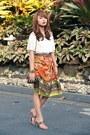 Bronze-chanel-bag-white-vetus-shop-blouse-carrot-orange-josie-natori-skirt