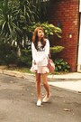 Bubble-gum-balenciaga-bag-salmon-stradivarius-sneakers-pink-zara-skirt
