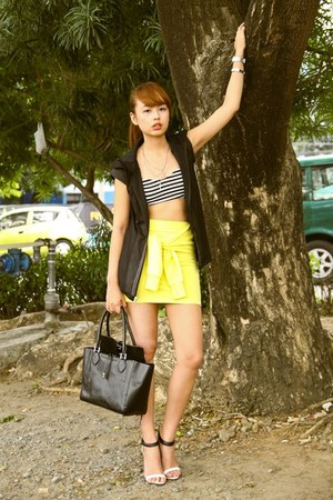 black Michael Kors bag - yellow 10 Percent skirt - black Adidas vest
