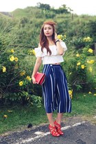 red Zara heels - ruby red Valentino bag - white Zoo Shop top - navy Zara pants