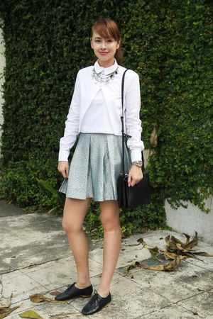 black Celine bag - sky blue Forever 21 skirt - white Zara top