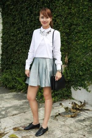 sky blue Forever 21 skirt - black Celine bag - white Zara top