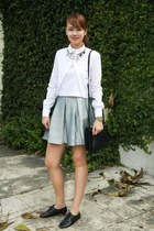 sky blue Forever 21 skirt - black Celine bag - white Zara top