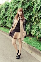 black Chanel bag - dark brown suiteblanco coat - black Massimo Dutti top