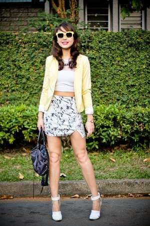 blue Zara skirt - light yellow H&M blazer - navy balenciaga bag