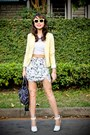 Light-yellow-h-m-blazer-navy-balenciaga-bag-white-topshop-top