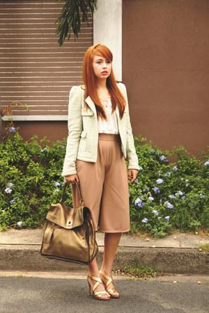 gold YSL bag - green Zara jacket - white Deisa top - gold dvf heels