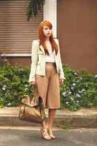 gold YSL bag - green Zara jacket - white Deisa top - gold dvf heels