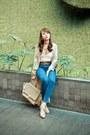 Dark-khaki-celine-bag-white-wear-sundae-top-blue-topshop-pants