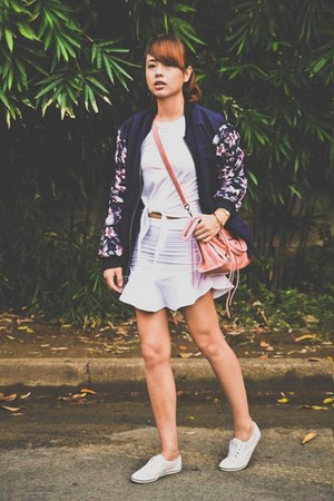 blue Bershka jacket - bubble gum balenciaga bag - white Keds sneakers