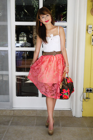 carrot orange Topshop skirt - dark khaki Fendi shoes
