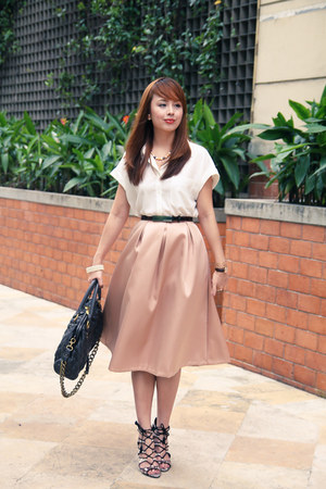 brown Zara shoes - dark brown Marc Jacobs bag - peach River Island skirt