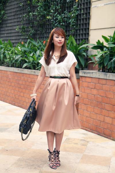 brown Zara shoes - dark brown Marc Jacobs bag - peach River Island skirt