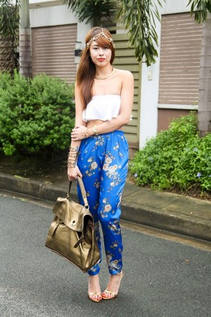 white Zara top - gold YSL bag - blue Forever 21 pants