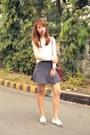 Maroon-goyard-bag-navy-zara-skirt-white-zalora-top