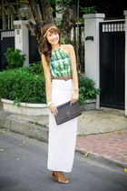 light brown Chanel belt - dark brown Valentino bag - white H&M skirt