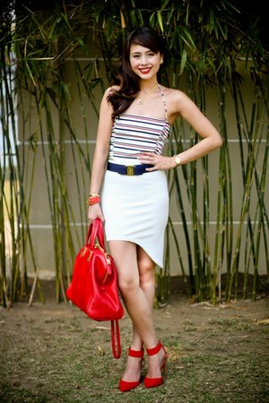 red Fendi bag - ruby red Zara heels - white Paradise Treats skirt