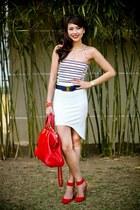 red Fendi bag - ruby red Zara heels - white Paradise Treats skirt