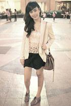 black Oxygen skirt - beige guangzhou blazer - dark khaki drawstring bag H&M bag