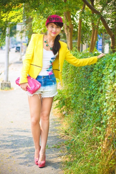 pink Prada bag - hot pink Kenzo hat - yellow Zara blazer