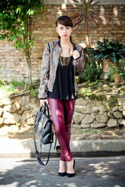 black 31 Phillip Lim bag - black Mango heels - crimson H&M pants