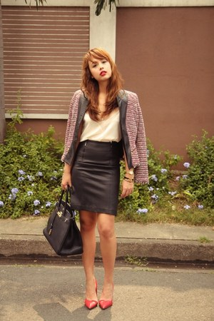 ruby red Zara blazer - black Hermes bag - black Forever 21 skirt