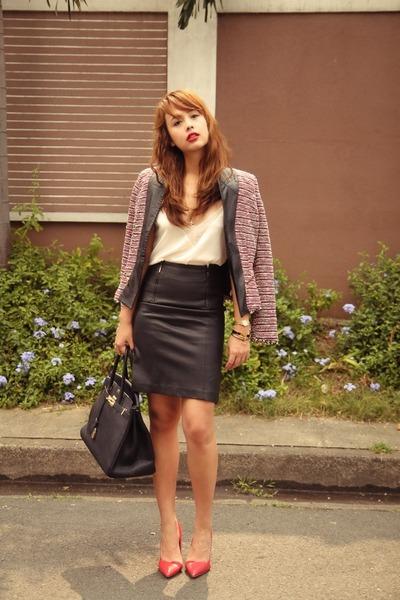ruby red Zara blazer - black Hermes bag - black Forever 21 skirt