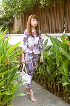 salmon H&M top - silver Louis Vuitton bag - violet H&M pants