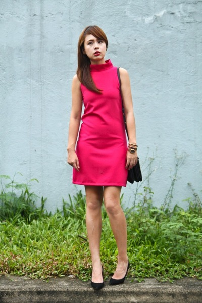 hot pink The Clothing Hub dress - black Celine bag