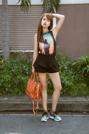 turquoise blue Adidas shoes - orange Prada bag - black Zara skirt