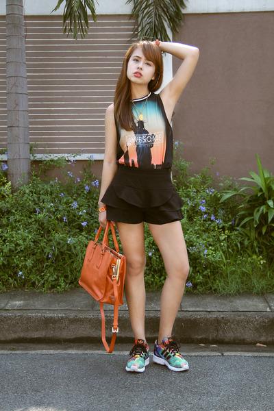 turquoise blue Adidas shoes - orange Prada bag - black Zara skirt