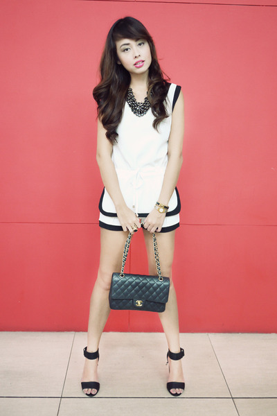 black Chanel bag - white shorts - black H&M heels - black H&M necklace