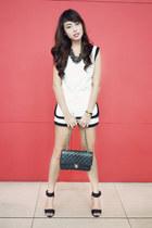 black Chanel bag - white shorts - black H&M heels - black H&M necklace