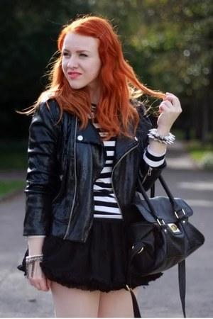 Bershka heels - Zara jacket - Topshop bag - H&M top - Topshop skirt