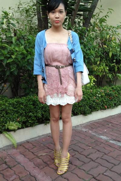 white Forever 21 skirt - pink Zara skirt - blue denim cotton on blazer