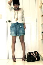 brown Topshop shoes - blue Zara shorts - white random from china dress - gold cr