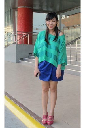 green blouse - blue Topshop skirt - hot pink Dorothy Perkins pumps