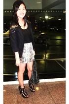 black Zara blazer - brown Zara skirt