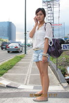 blue Zara shorts - gold River Island belt - beige rubi shoes - beige diva access