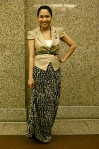 black maxi H&M skirt - beige pleather random from china vest