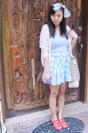 blue Topshop skirt - beige Topshop cardigan - red Topshop shoes - gray cotton on