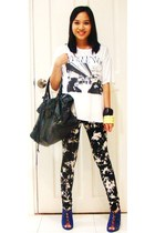 Zara shirt - glasnostmultiplycom leggings - shoes - balenciaga purse - MNG