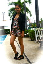 black f21 blazer - red Topshop dress - black H&M shoes