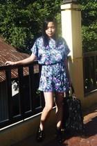 black Topshop dress - black from hong kong shoes - black Zara purse