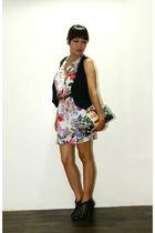 black Trunkshow shoes - black Louis Vuitton purse - pink Zara dress - black f21