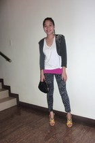 gray cotton on leggings - gray random blazer - gray Nine West shoes - pink MNG i
