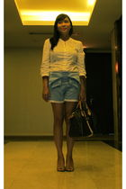 white Topshop blouse - blue Pink Manila shorts - brown Tint shoes - brown Louis