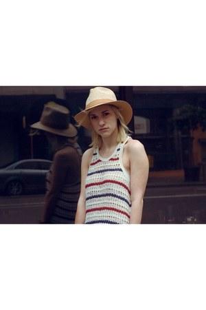 beige panama vintage hat - ivory Etoile isabel marant dress - black vintage bag