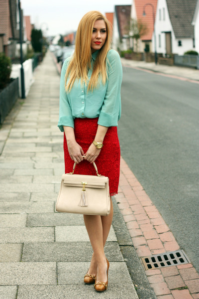red lace Mango skirt - aquamarine Primark shirt - cream Aldo bag